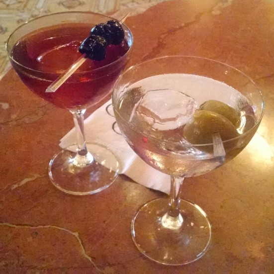 Manhattan and Martini with diamond-shaped ice cubes